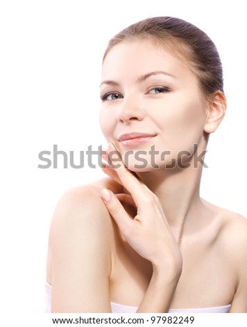 beautiful smiling woman portrait isolated on white - stock photo