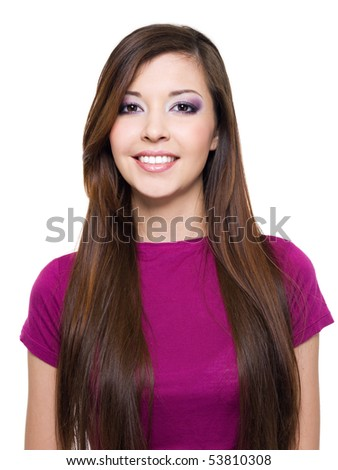 Beautiful smiling woman with long brown hair -   isolated on white - stock photo