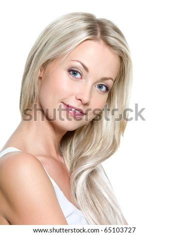 Beautiful smiling woman with long straight hair on a white background