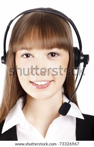 beautiful smiling young asian woman wearing a headset ready to talk with a customer - stock photo