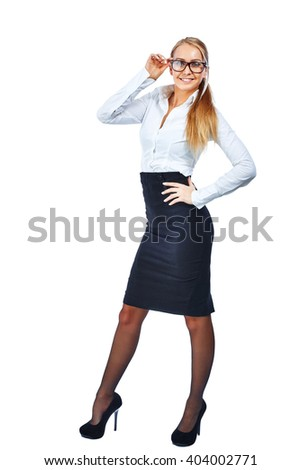 Beautiful smiling young business woman. Isolated on white background. Full-length. - stock photo