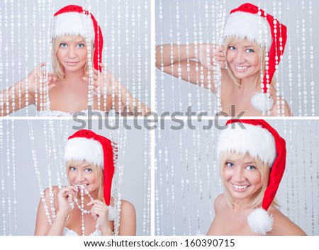 Beautiful smiling young woman in Santa Claus clothes, SET for Holiday design - stock photo