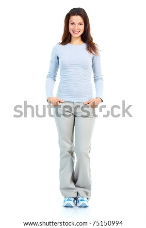 Beautiful smiling young woman. Isolated over white background - stock photo
