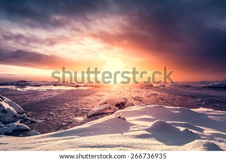 Beautiful snow-capped mountains against the blue sky in Antarctica. Vernadsky Research Base. - stock photo
