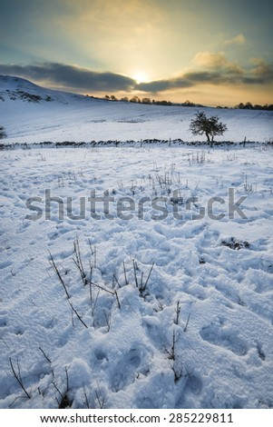 Beautiful snow covered sunrise Winter countryside landscape