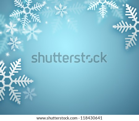 Beautiful snowflake blue Christmas background with copyspace - stock photo