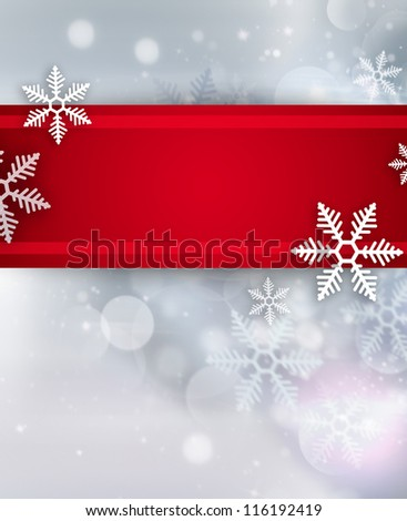 Beautiful snowflake Christmas background with red ribbon and copyspace - stock photo