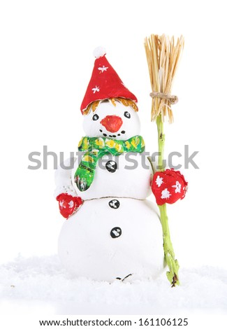 Beautiful snowman  isolated on white - stock photo