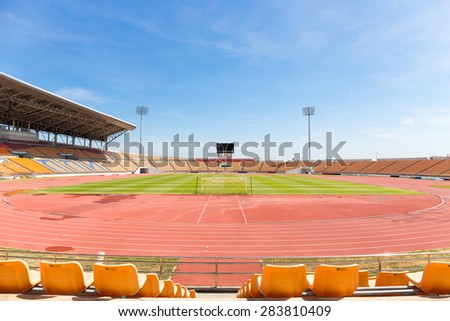 Beautiful soccer stadium for use in football match and athletics (public stadium create from people tax all access)