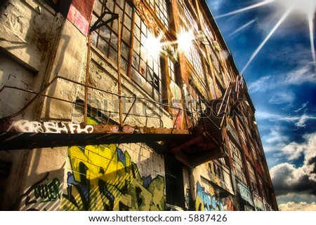 Beautiful softened image of graffiti stairway up to the sky. Heaven steps - stock photo