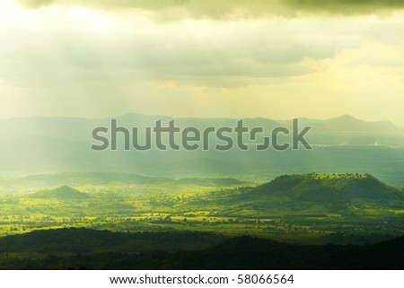 Beautiful solar beam in nation park - stock photo