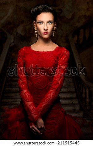 Beautiful sophisticated woman in red dress - stock photo