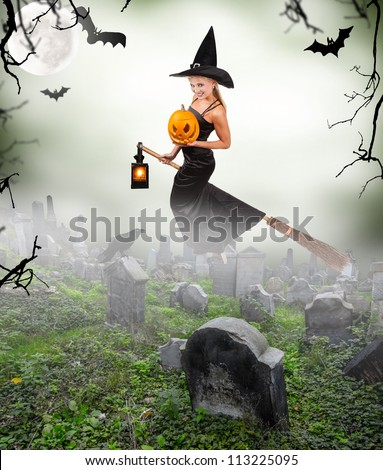 Beautiful sorceress flying on broom on graveyard. isolated on white background - stock photo