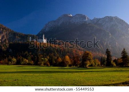 Beautiful south Bavarian fall landscape around Neuschwanstein castle - stock photo