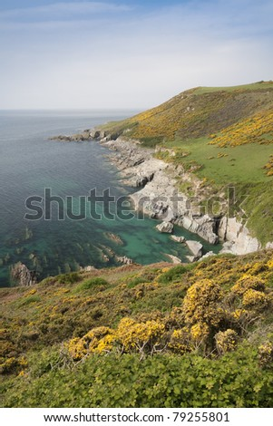 Beautiful South Devon Coastline between Wembury and Noss Mayo - stock photo