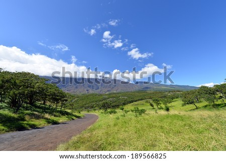 Beautiful south Haleakala National Park Maui Island Hawaii,Winding scenic road in southeast maui hawaii-4 - stock photo