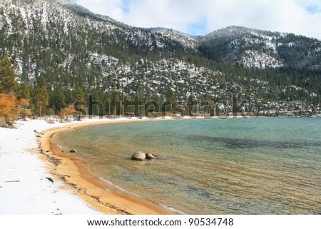 Beautiful South Lake Tahoe in winter - stock photo