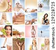 Beautiful spa and health collage made of many elements - stock photo