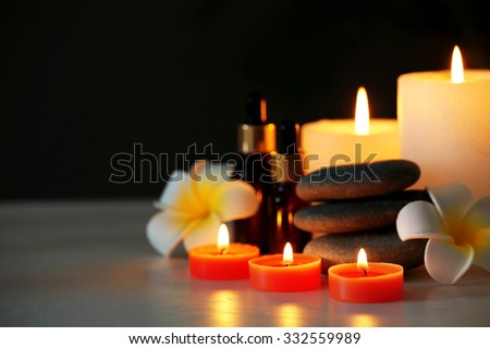 Beautiful spa composition on wooden table - stock photo