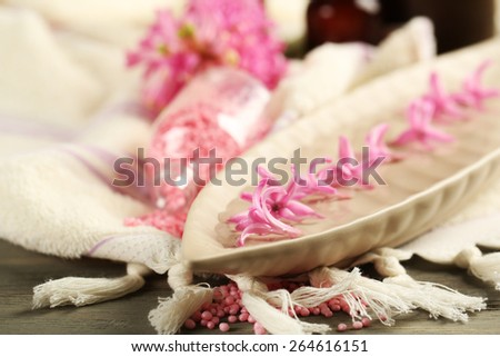 Beautiful spa composition with hyacinth flowers, close up - stock photo
