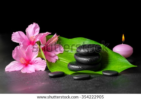 beautiful spa concept of pink hibiscus flowers, green leaf, candle and stones pyramid with drops - stock photo