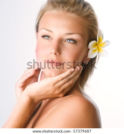Beautiful Spa Girl face.Perfect clear skin concept - stock photo
