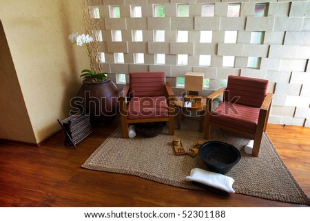 Beautiful spa seating area for relaxing and therapy