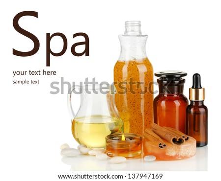 Beautiful spa setting isolated on white - stock photo