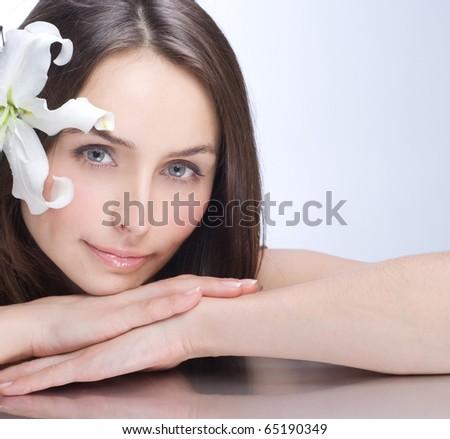 Beautiful Spa Woman portrait.Clear fresh skin - stock photo