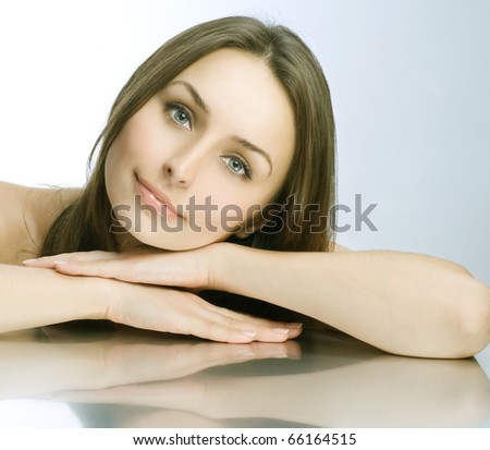 Beautiful Spa Woman portrait.Clear fresh skin. - stock photo