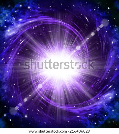 beautiful space background with rays and stars - stock photo