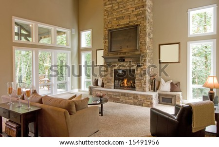 Beautiful Spacious Living Room in New Home - stock photo