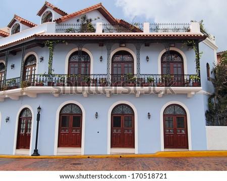 Beautiful Spanish colonial house with wrought iron and plants, Casco Viejo, Panama City, Panama - stock photo