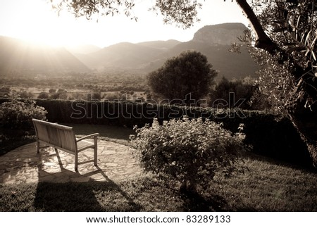Beautiful spanish countryside view in a vintage style