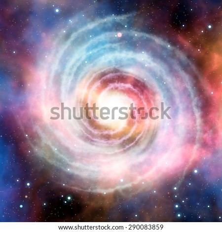 Beautiful spiral galaxy in deep space many light years far from the Earth. - stock photo