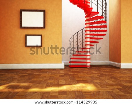 beautiful spiral staircase in the room , rendering - stock photo
