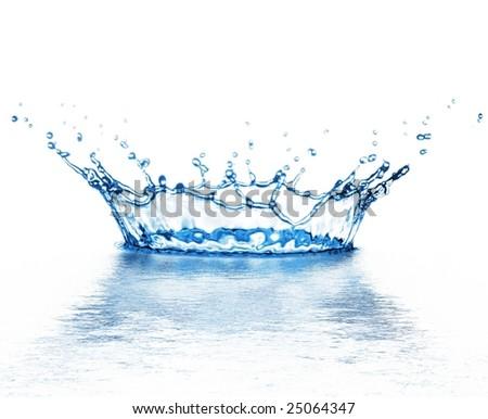 beautiful splash of water blue drops - stock photo
