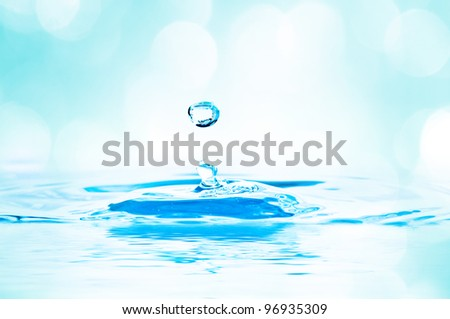 beautiful splash of water blue drops with lights in the background - stock photo