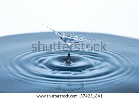 Beautiful splash of Water Drop. Freeze action - stock photo