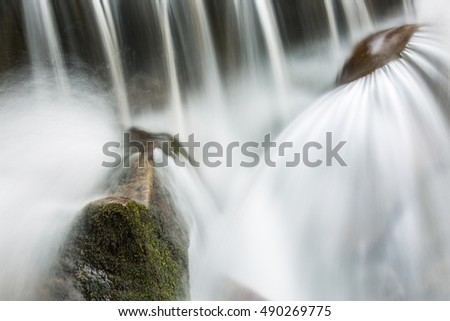 Beautiful splashes of water in a small waterfall