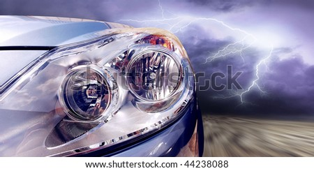 Beautiful sport cars on speed - stock photo