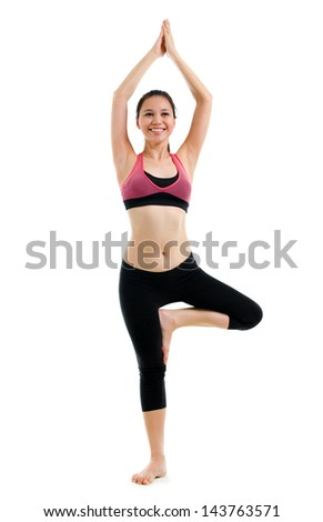 Beautiful sport Yoga girl in gym suit. Full length isolated on white background. Mixed race Caucasian Asian woman model in yoga poses. - stock photo