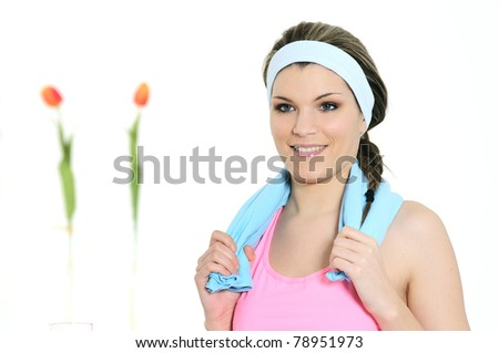 beautiful sportive woman with his towel - stock photo