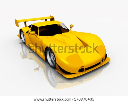 Beautiful Sports Car Computer generated 3D illustration - stock photo