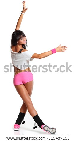 beautiful sports girl is engaged in fitness - stock photo