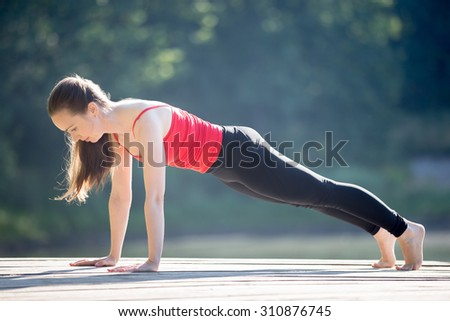 Beautiful sporty fit young woman in sportswear working out outdoors on summer day, doing plank posture, exercises for abs muscles, full length - stock photo