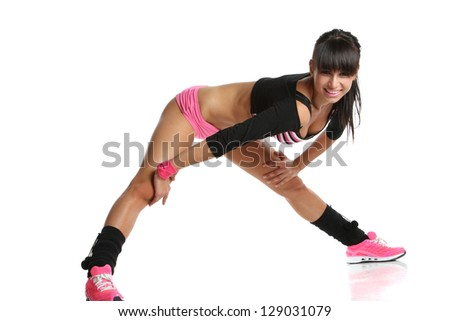 beautiful sporty girl is engaged in fitness - stock photo