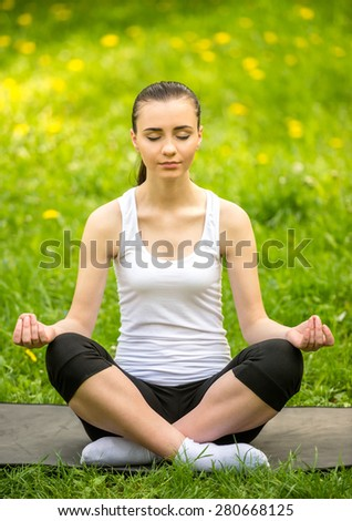 Beautiful sporty girl sitting on the mat in summer park and doing yoga. - stock photo