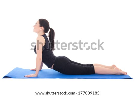 beautiful sporty woman doing exercise on the floor isolated on white background