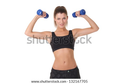 beautiful sporty woman with dumbbells.Isolated on white